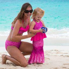 c119987d3307f Fin Fun Swimsuits | Swimwear for Girls, Boys, & Women · Malibu Pink Bandeau  Bikini Top and Peplum Tankini Top Pink Bandeau Bikini Top, Pink Bikini