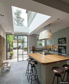 Planning a period home kitchen extension? - Chris Dyson side return kitchen-diner with rooflight and Crittal doors - Kitchen Living, New Kitchen, Island Kitchen, Rustic Kitchen, Kitchen Layout, Kitchen Decor, Kitchen Backsplash, Kitchen Counters, Narrow Kitchen With Island