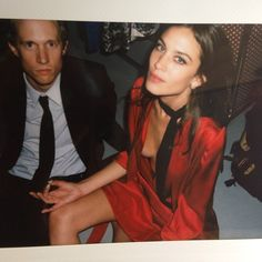 Alexa Chung in Prada fw14 red dress & neck scarf