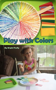 Fun play with oil pastels and the new Big Bright Flower. Color Wheel Paper Plate. Exploring Hues - Color Families for Kids.