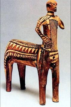 """The Lefkandi Centaur, ca. 900 BCE. Found in two separate graves at the same site (known as the """"Hero's Tomb"""") at Lefkandi on the island of Euboea. It's a fine example of Greek art during the Geometric period. I wrote a whole paper on this thing..."""