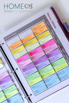 Finally, a close up of this type of menu planning. Just grab the little sticky and put it on the weeks plan