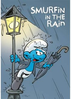 Puppy Postcard The Smurfs, Smurfin in The rain Classic Cartoon Characters, Classic Cartoons, Vintage Comic Books, Vintage Comics, Smurf Village, Pencil Drawings Of Animals, Buy Puppies, Smurfette, Blue Magic