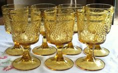 1970s Amber Water Goblets Wine Glasses Grape by ChevyLovesLaura, $25.00