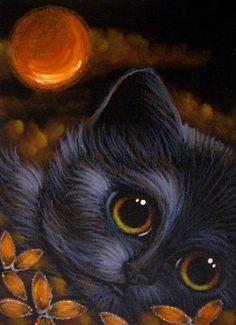 Art: BLACK CAT w FANTASY ORANGE MOON & FLOWERS by Artist Cyra R. Cancel