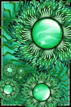 Sun Flowers in a Green World  by *jim373  Digital Art / Fractal Art / Raw Fractals