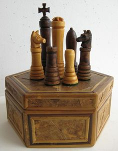 antique german black forest hand carved tramp art hexagonal wood box chess set