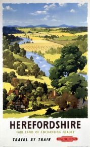 British Railways Travel Poster Print, Herefordshire, England, Travel by Train