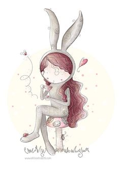 Whimsical and beautiful digital illustration of an adorable bunny girl drinking tea in woods.  The illustrations will be printed on satin,