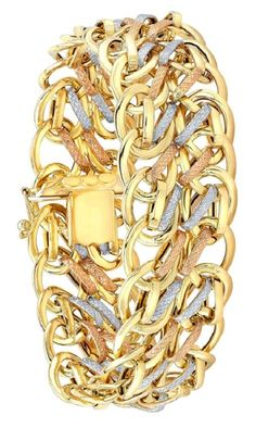"""This stylish, 8"""" gold bracelet is 18kt yellow, white, and rose gold toned. This bracelet creates an exquisite look complementing any outfit."""