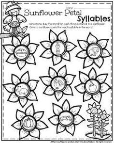 November Kindergarten Worksheets - Sunflower Petal Syllables.