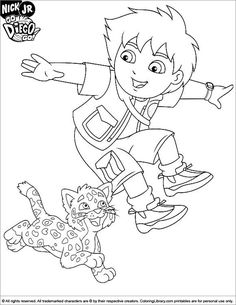 Go Diego Go coloring page Diego jumping in the air