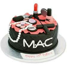 A cool cake with all the makeup you could imagine!
