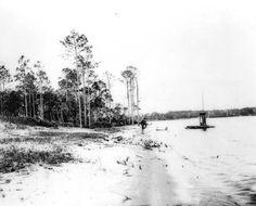 View along the shore with a bathhouse to the left - Valparaiso, Florida.  1919