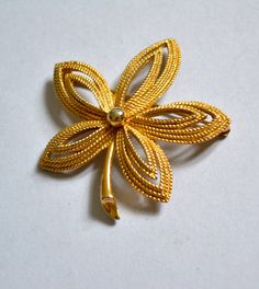 Vintage Trifary Brooch in Gold Tone Art Nouveau by ESTATENOW, $8.50
