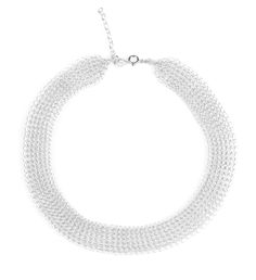 O - a modern wire crochet short necklace in silver