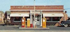 Anderson Motel Restaurant and Gas Pumps - Cropped from postcard 1950s - ebay