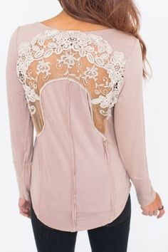 Chic Scoop Neck Long Sleeve See-Through Appliques Women's Blouse