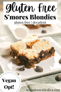 Gooey S'mores Blondies - Gluten Free & Vegan Opt #glutenfreeveganblondies #glutenfreeblondies #smoresblondies