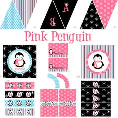 Penguin Party Decorations for Birthday or Baby Shower - DIY Printable Decor by BeeAndDaisy - Instant Download