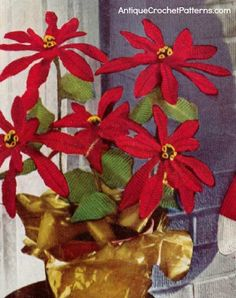 Crochet Poinsettia - FREE Crochet Pattern - A crochet poinsettia is a great addition to your Christmas decorations. You can sit it by your fireplace and it will not wilt or die from the heat! this is the most realistic looking poinsettia on the 'net. Holiday Crochet Patterns, Vintage Crochet Patterns, Crochet Flower Patterns, Christmas Patterns, Christmas Ideas, Vintage Knitting, Crochet Ideas, Knitting Patterns, Merry Christmas
