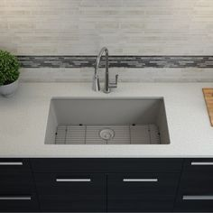 Shop Lexicon Platinum Quartz Composite Kitchen Sink with Large Single Bowl - Overstock - 11606951 - White Composite Kitchen Sinks, Composite Sinks, Undermount Sink Clips, Single Bowl Sink, Wood Counter, Counter Space, Refinish Kitchen Cabinets, Stainless Steel Sinks, Kitchen Fixtures