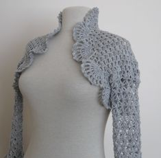 Knitting And Beading Wedding Bridal Accessories and Free pattern: Crochet shrug in light grey / weddings bridal bridesmaids just married bride fashion ceremony party spring summer bolero ready to ship