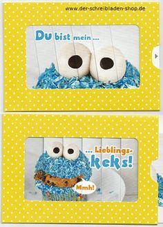 Wer möchte nicht so ein Krümelmonster? Who wouldn't like to have a cookie monster like this? #ZipKarte von #Hartung #Papeterie #postcards #Nürnberg #postcrossing #Schreibwaren   www.der-schreibladen-shop.de