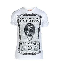 SEX MONEY WEED Stretch tee Crew neck with ribbed collar Graphic on front Short sleeves