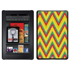 Red and Green Chevron design on a Black Thinshield Case for Amazon Kindle Fire by Coveroo. $39.95. This hard shell polycarbonate case offers a slim fit form factor, while covering the back and sides of your Kindle Fire