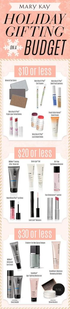 When you have a long list of gifts to purchase and a budget to stick to these products will keep your holiday spending minimal! Its easy to find the right gift for everyone on your list. At Play Mary Kay, Mary Kay Ash, Mary Kay Party, Mary Kay Cosmetics, Diy Holiday Gifts, Beauty Consultant, Best Makeup Products, Budgeting, Minimal