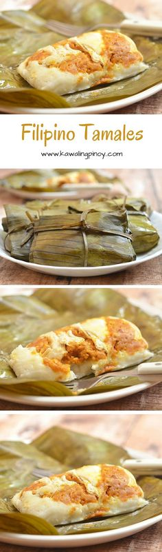 Filipino Tamales are made with rice flour, coconut milk and peanut butter, topped with chicken and eggs, and then steamed until set for a delicious breakfast or snack treat