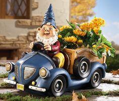 Gnome In Vintage Truck Garden Planter