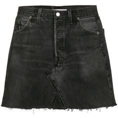 Re/Done Levi's High Waisted mini washed denim skirt (11665 NIO) ❤ liked on Polyvore featuring skirts, mini skirts, bottoms, black, high waisted denim skirt, high rise denim skirt, denim skirt and high-waisted skirt