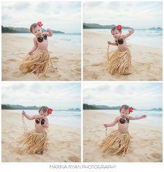 First birthday ideas, beach photos, children photography, hawaii photography, hula girl, hula outfit