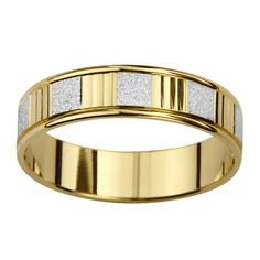 14-karat gold is the most popular karatage of gold sold and has classic colors that are timeless. This Wedding band features a watch band dial in alternating white and yellow gold with a dual satin and polished finish.