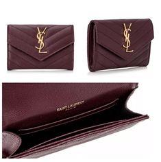 Saint Laurent Red Burgundy Matelasse Leather Small Envelope Monogram Wallet 1c9f335fac