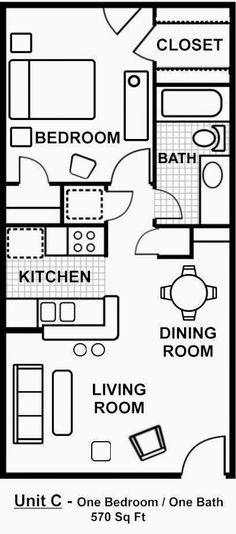 Tiny House Blueprint 2 Bedroom Apartment Floor Plan, One Bedroom Apartments, Small Apartment Plans, 1 Bedroom House Plans, Guest House Plans, Shed House Plans, Barn Apartment, Apartment Layout, Cool Apartments