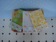 Dollhouse Miniature Tea Towels Set of Three by IttyBittyAndCute