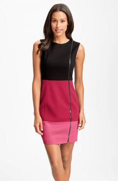 Laundry by Shelli Segal: An industrial-chic exposed front zipper detail spans the length of a color-blocked day dress, finished with a supple, contrasting suede-cloth panel.