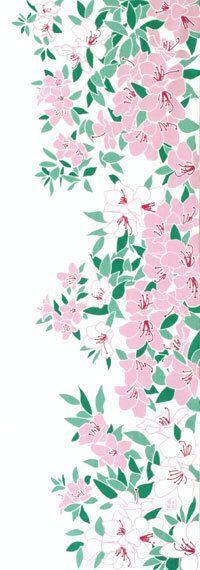 Japanese washcloth, Tenugui 手ぬぐい「つつじの庭」azaleas garden