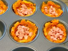 Sweet potato breakfast cups. Leave out the milk Replace ham with homemade turkey sausage  Use real sweet potato, not packaged.  Mmmm...