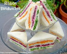 Ribbon Sandwiches. Really neat sandwich. Used a bit of mayonnaise to substitute for some of the butter.