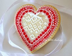 Heart cookie with lace for Valentine's Day