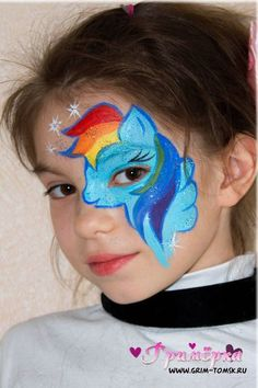 Аквагрим, грим, пони радуга face painting, make-up, pony rainbow ideas for kids