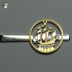 Beautifully (Hand) Cut out & 2-toned British Sailing ship - coin Tie Clip - Groom cufflinks and tie clips (*Amazon Partner-Link)
