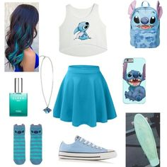 Stitch Outfit A fashion look from August 2015 by xxsondraxx featuring Disney, Converse and CLEAN Cute Disney Outfits, Disney Themed Outfits, Cute Comfy Outfits, Teen Fashion Outfits, Cute Casual Outfits, Outfits For Teens, Fashion Women, Women's Fashion, Fandom Fashion