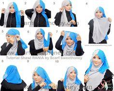 Scarf Sweethoney - Malaysia Online Instant Shawl, Shawl, and Hijab Pashmina Hijab Tutorial, Hijab Style Tutorial, Scarf Tutorial, Hijab Stile, Eid Outfits, Turban Hijab, Hijab Fashionista, Muslim Hijab, Islamic Fashion