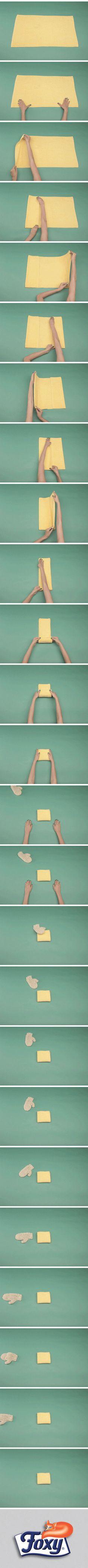 Piccoli asciugamani in piccoli contenitori.  Arrotolati e sistemati in piccole scatole o cestini,  gli asciugamani occuperanno meno spazio.  Scopri tanti altri consigli per organizzare gli spazi in casa su www.foxymega.it