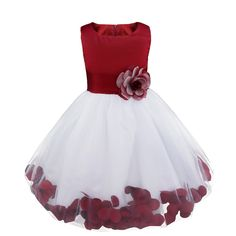 iiniim Girls Petals Tulle Princess Wedding Pageant Party Flower Girl Dress Burgundy Petals 3. Satin bodice, sleeveless, hidden back zipper closure. Loose flowers petals floating around the hems of tulle skirt. Waistband with removable pinned brooch at the front, big bowknot with closure on the back. 3-layer skirt, top layer tulle, 1 layer satin and 1 lining with netting for additional fullness. Perfect for party, wedding, pageant, birthday or other special occasions.